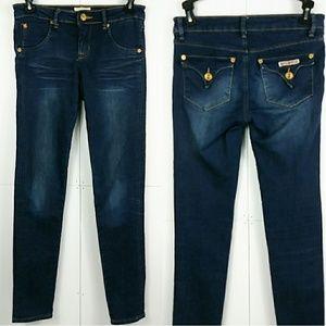 Hudson Flap Pocket Girls Skinny Dark Wash Jeans 12